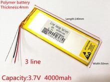 Batterie lithium ion 3 lignes 3.7V,4000mAH (batterie lithium ion polymère), pour tablette pc 7 pouces 8 pouces 9 pouces 4050140, livraison gratuite