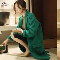 Women Coat 2018 Newest Fashion Green Loose Long Wool Winter Spring Coat Women Solid Wide Waisted Plus Size Women Coats