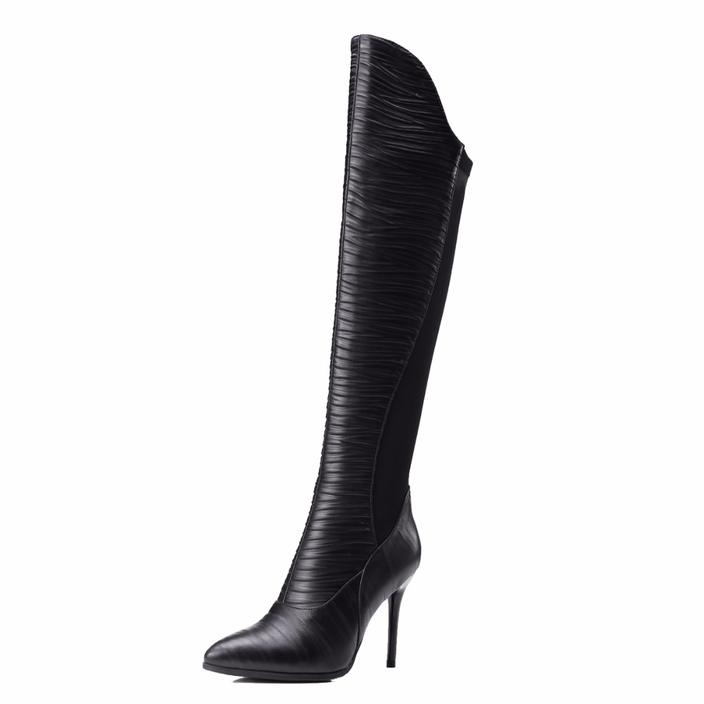 Handmade Full grain leather Black Over-the-knee Boots Pointed Toe Women boots Big size 35-43 Thin heels shoes woman 55a full grain leather women thin heels elegant work ankle boots pointed toe fashion zipper lady office shoes black