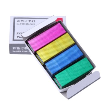800Pcs/Box 12mm Creative Colorful Metal Staples Office School Binding Supplies Staples