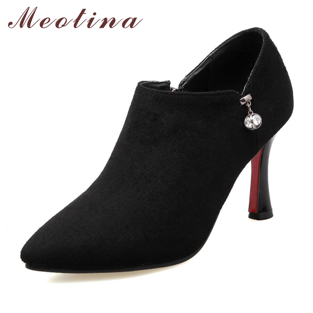 Meotina High Heels Shoes Women Pumps Pointed Toe Party High Heels High Quality Sexy Heels Ladies Shoes Zip Red Big Size 9 10 meotina high heels shoes women pumps party shoes fashion thick high heels pointed toe flock ladies shoes gray plus size 10 40 43