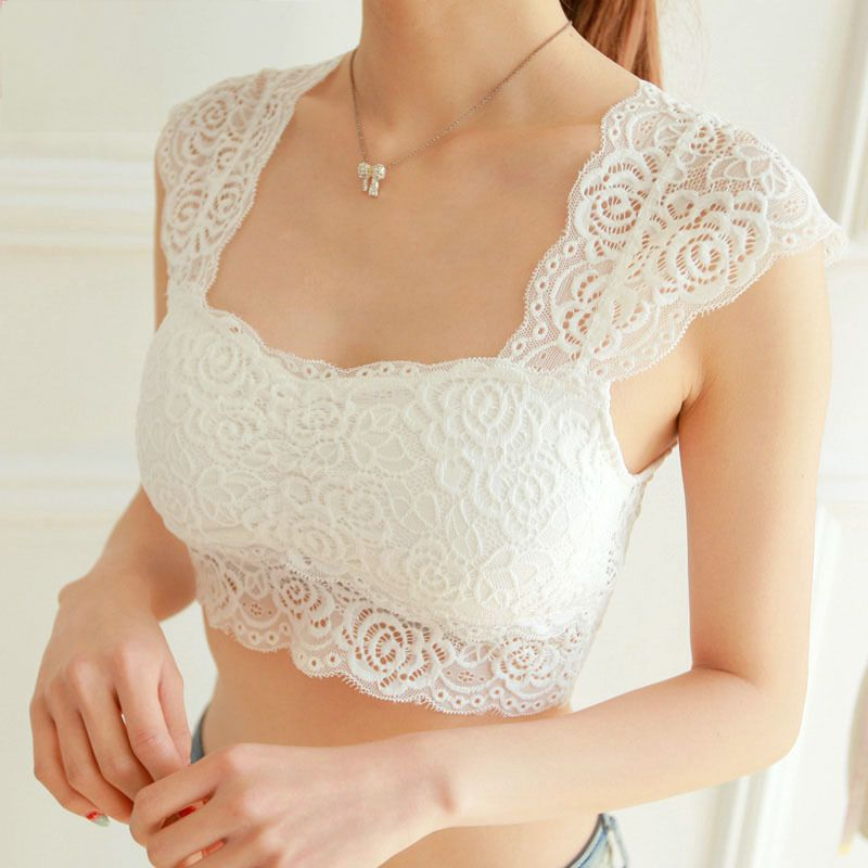 3Colors Sexy Women Lace Crochet Bralette Bralet Bustier Crop   Top   2019 Floral Cami Female Padded   Tank     Tops   Black White T6