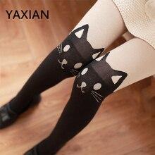 cbe998236 YAXIAN gato falso alta tubo meia-calça falso coxa joelho Meias combinando calças  assentamento inverno 2018 NOVAS Mulheres de Out.
