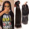 Перуанский Прямые Волосы с Закрытием Перуанский Девственные Волосы С Закрытием 100 процентов Человеческих Волос Пучки 4 Шт. weave связки предложения
