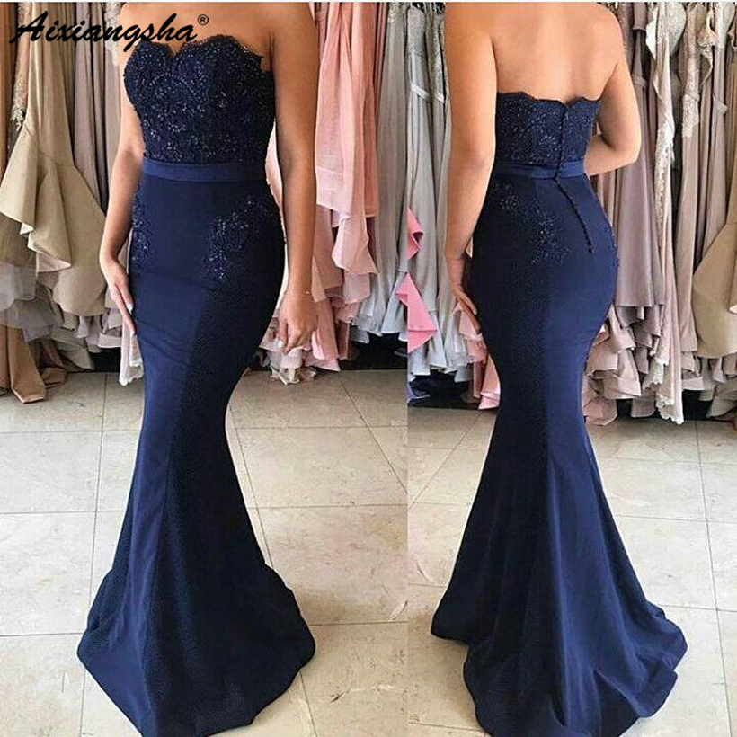 2019 navy blue cheap   bridesmaid     dresses   under 50 mermaid sweetheart beaded lace wedding party   dresses   for women