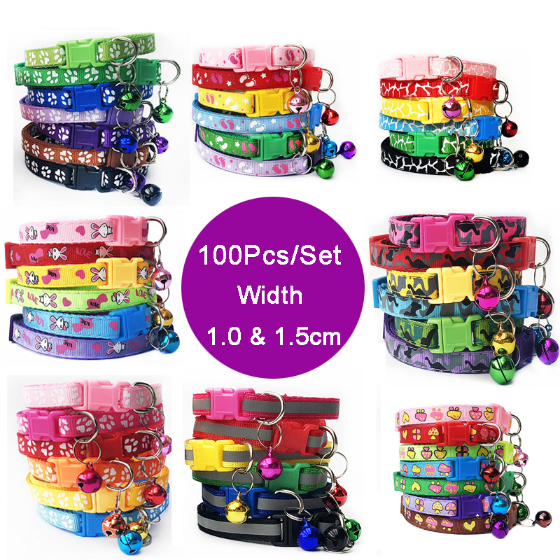 Wholesale 100Pcs Adjustable Small Pets Puppy Dog Dog Pet Glossy Reflective Cat Collar Safety Buckle Bell