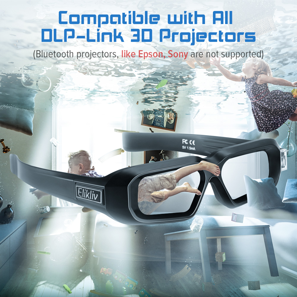 Elikliv 3D Active Blue tooth glasses for Sony Epson projectors Pack 1
