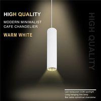 Wysokiej jakości nowoczesne minimalistyczne żyrandole cafe led restauracja COB reflektory długa rurka lampa wisząca stolik barowy cylindryczny mou|Wiszące lampki|Lampy i oświetlenie -