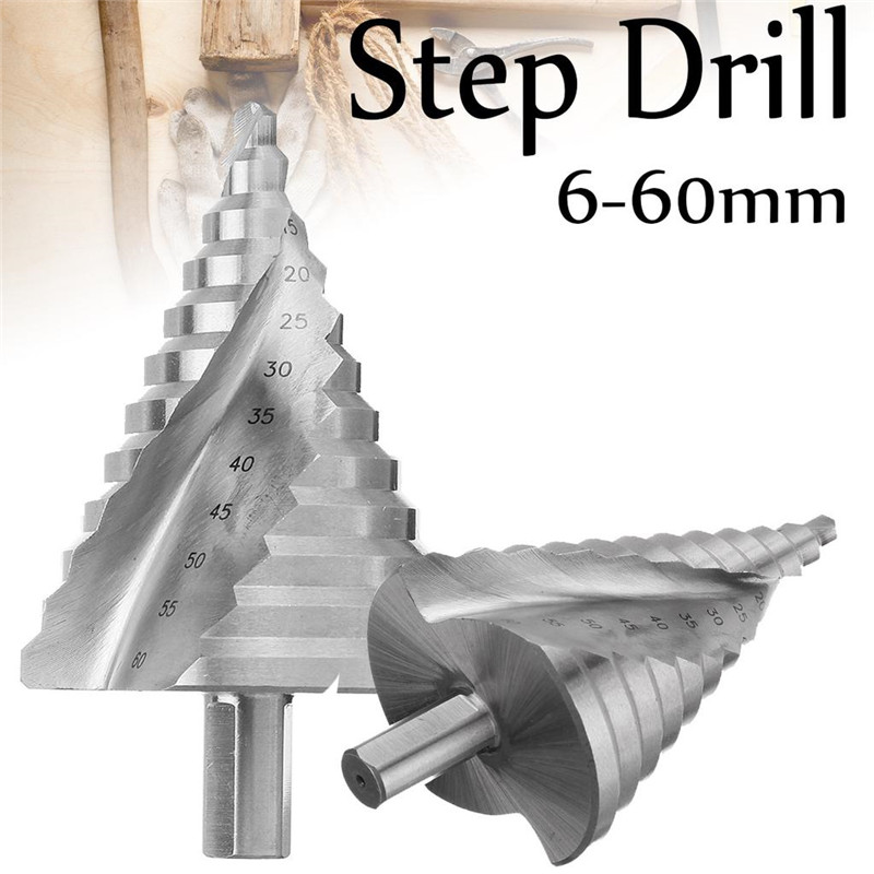 12 Step Cone Drill Bits Hole Saw Cutter Bit Set 6-60mm Spiral Groove HSS Cone Titanium Shank Drill Bit Set For Woodworking