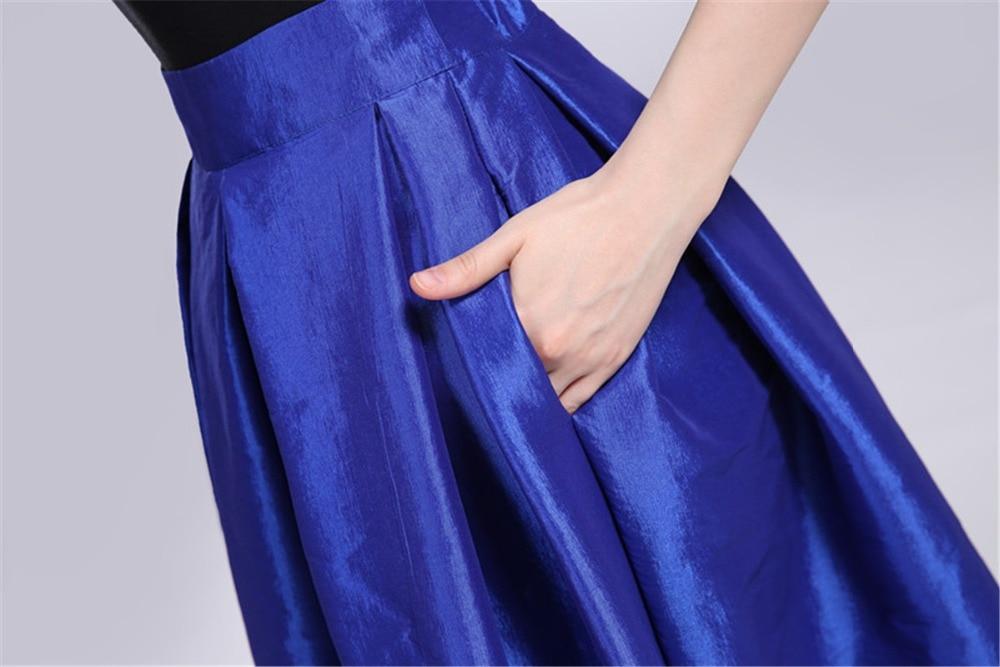 Folobe 110 cm largo mujeres vestidos Maxi Faldas azul real Faldas ...
