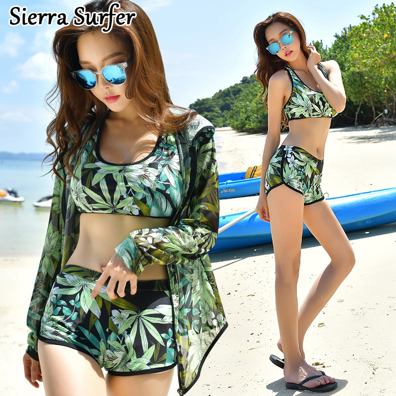 Bikini 2018 Set Sexy Swimsuit Women May Beach Swim Wear Suit Surf Korean New Three Piece Female Movement Sun Plaj Biquines 2018 direct selling springs swimming clothes bikini three pieces of small breasts the steel sexy shading thin korean swimsuit