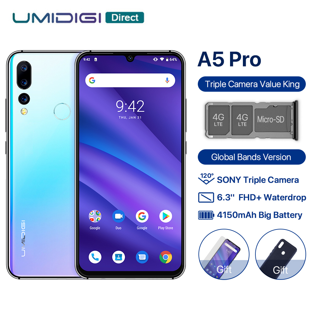 UMIDIGI A5 PRO Global Version Android 9.0 Octa Core 4GB 32GB 6.3' FHD+ 16MP Triple Camera 4150mAh Fast charge Celular Smartphone(China)