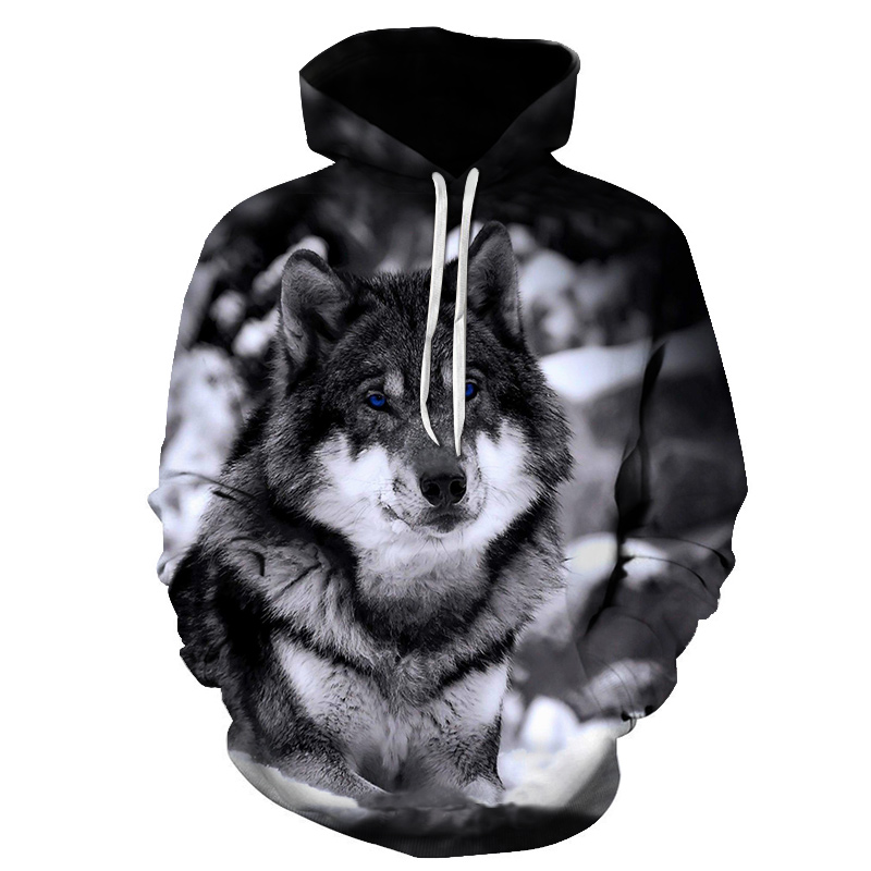 Mountain Wolf <font><b>Hoodies</b></font> <font><b>3D</b></font> Men Hoodie Brand Sweatshirt Hooded Pullover Cool <font><b>Animal</b></font> Print Tracksuits Thin <font><b>Unisex</b></font> Pullovers Tops 6XL image