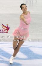 pink figure skating dresses custom ice skating clothing women competition skating dress free shipping