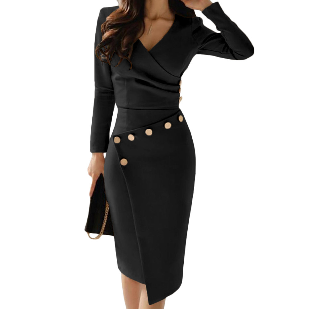 2019 nouveau élégant mode style automne femmes col en v régulière grande taille genou-longueur robe S-XL