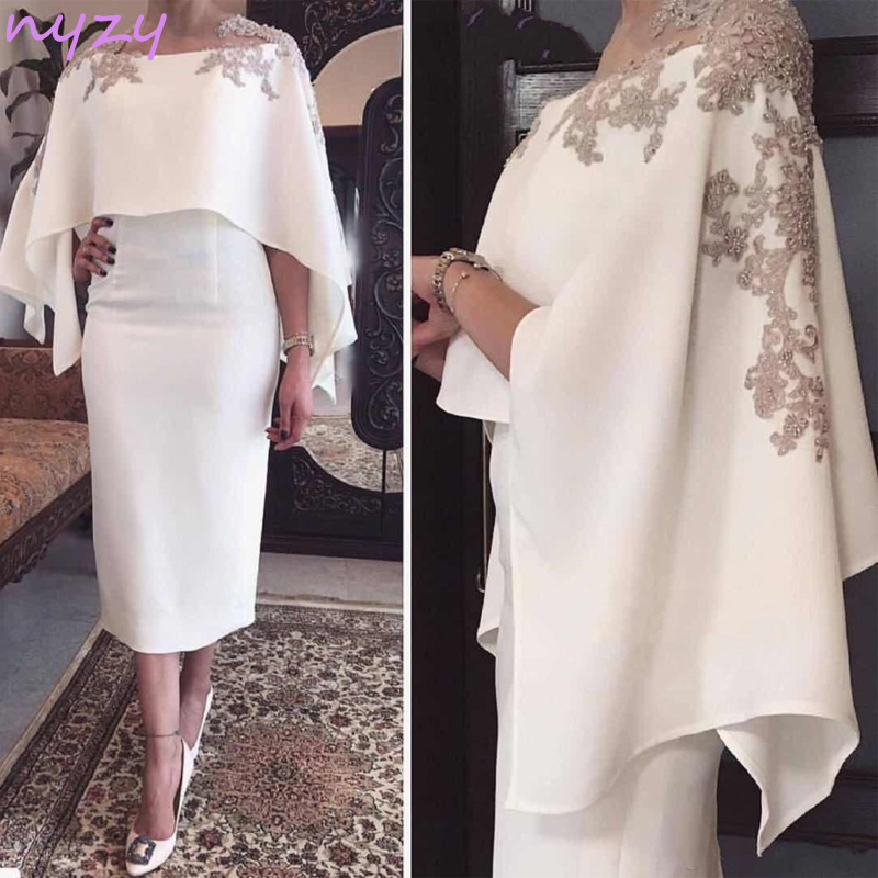 NYZY M14 Vintage 50s 60s Lace Appliques Beaded Cloak Sleeves Tea Length Italy Satin 2019 Robe de Cocktail Dresses with Cape