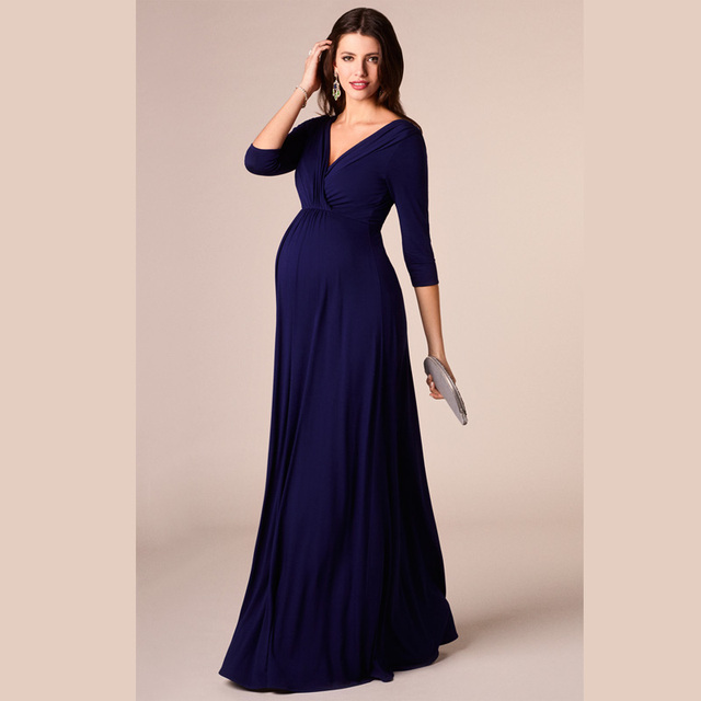 HI BLOOM Easter Gift Tencel Womens Pregnant Dress Long V-Neck Maternity Dresses Noble Prom Party Gowns Evening Vestidos+Sashes