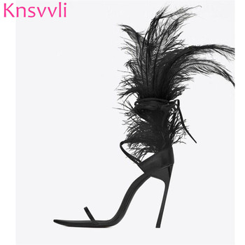 Knsvvli Runway Black Feather Sexy Thin High Heels Sandals Women Cross Lace Up Ostrich Hair Decor Party dance Shoes Ladies