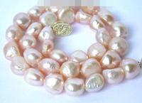 10 11mm Authentic nature Baroque pink freshwater pearl necklace