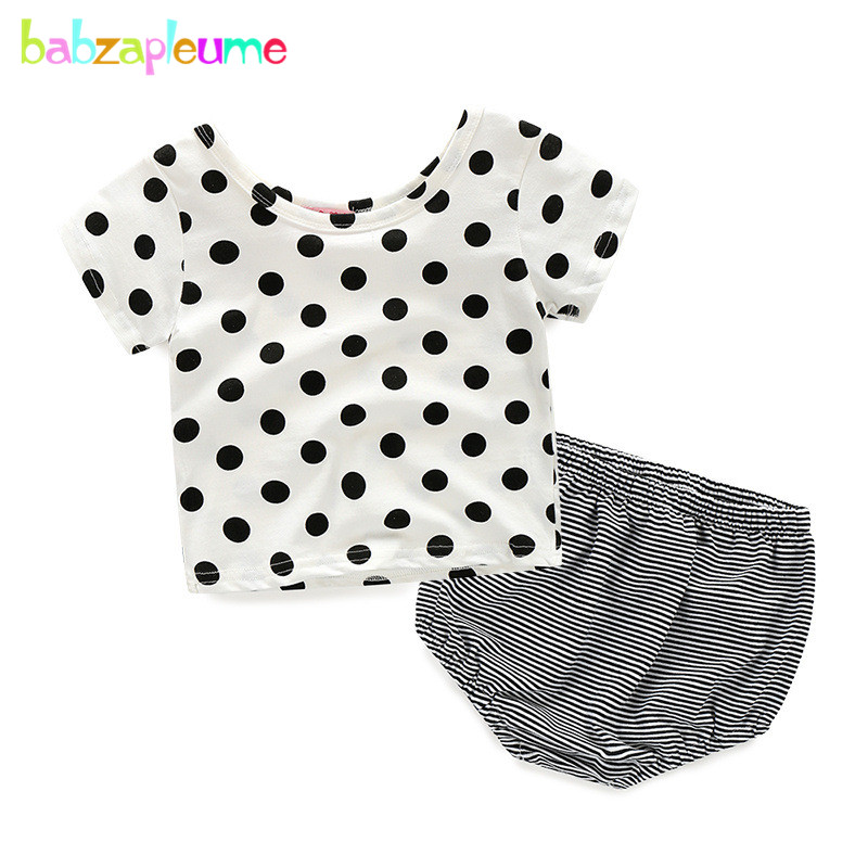 babzapleume Summer Newborn Outfit Baby Suits Girls Clothes Cute Dot T shirt Stripe Shorts Infant Clothing