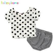 Babzapleume d'été nouveau-né outfit bébé costumes filles vêtements mignon dot t-shirt + bande shorts infantile vêtements deux pièces ensembles bc1410