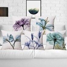 45*45cm Romantic Love Flower Cushion Cover Sofa Chair Waist Cotton Linen Pillow Cover Colorful Pillowcase Fresh Home Decor