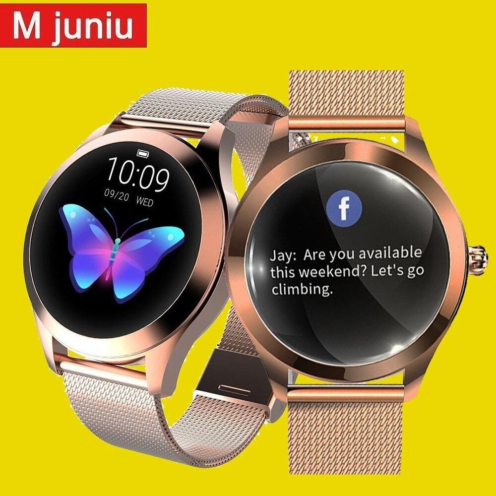 Kw10 Mulheres Da Moda Linda Pulseira de Relógio Inteligente Monitor de Freqüência Cardíaca relógio de Monitoramento Do Sono Inteligente Conectar Ios Android Pk S3 Banda