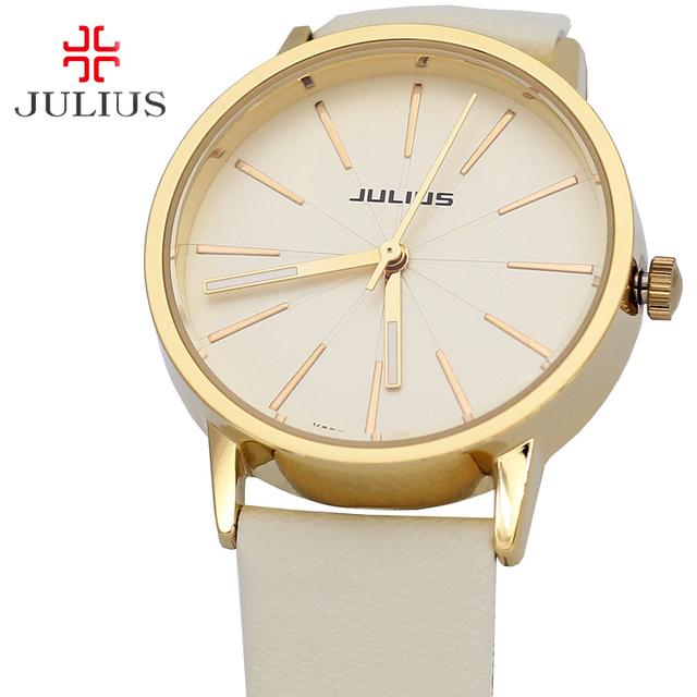 Julius Assistir Japão Relógio De Quartzo Horas de Relógio dos homens das Mulheres Da Moda Vestir Pulseira de Couro Simples Amantes Presente de Aniversário Menino Menina caixa de 387