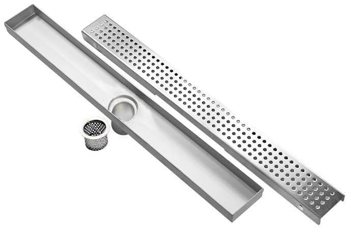 DIYHD trou coupe en acier inoxydable linéaire drain de douche longue salle de douche avec filtre à cheveux