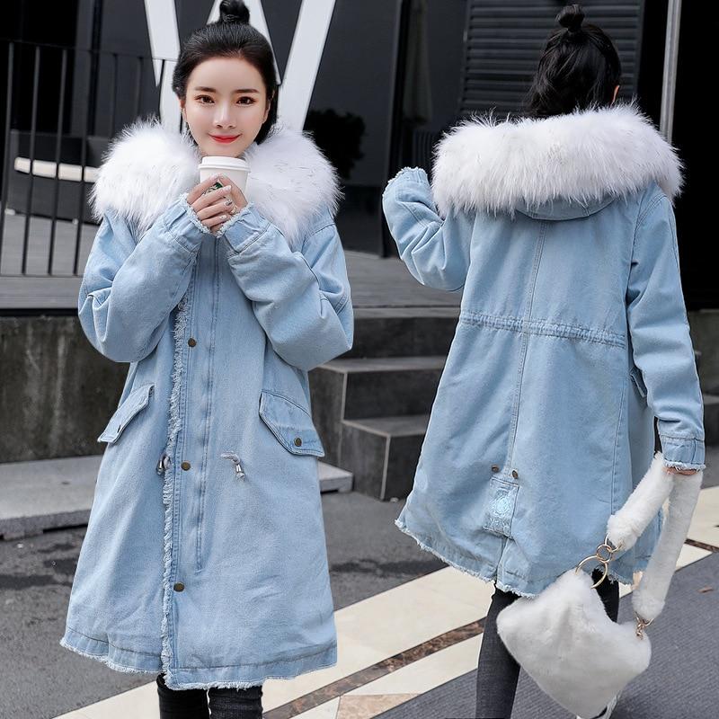 Women Denim Cotton Padded Velvet Jacket Keep Warm Winter New Loose Long Coat Large Raccoon Fur Hooded Mujer Thick   Parkas   MZ3269