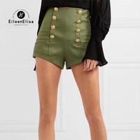 Женские Шорты Военный Зеленый 2018 Лето молния Шорты высокой талией женские короткие брюки Мода