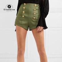 women shorts military green 2018 summer zipper shorts high waist women short pant fashion