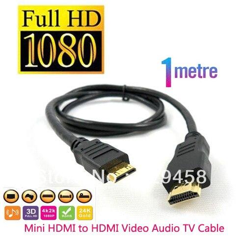3 ft 1m Mini HDMI to HDMI Cable for Nikon Coolpix S80 S8000 S8100 S9100 S6100 D90 D3100 D5000 D70001080P