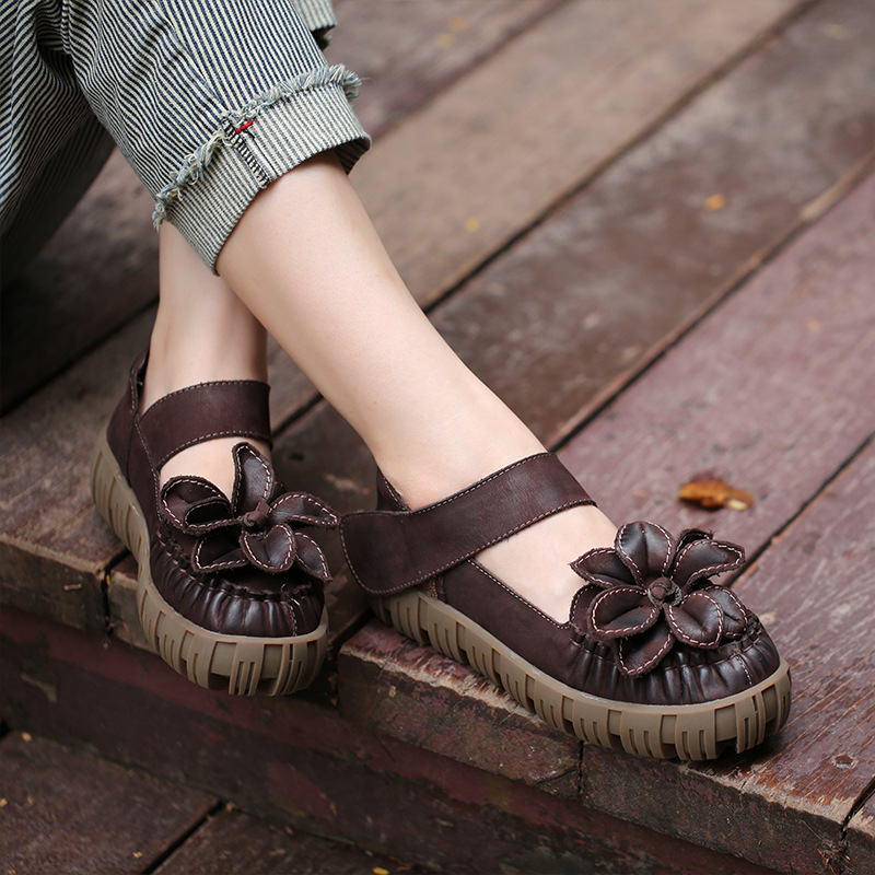 Handmade Ladies Shoes 2018 Spring Genuine Leather Flat Platform Casual Women Shoes Thick Sole Shoes For Women xiuteng 2018 spring genuine leather women candy color flats soft rubber sole ladies casual high quality beach walking shoes