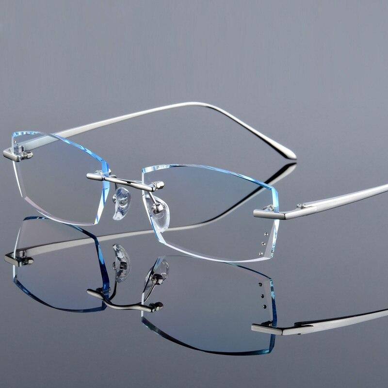 Image 2 - QJ Luxury Rhinestone Reading Glasses Men Diamond Cutting Rimless Glasses High Clear Men's Gray Readers Presbyopic Eye Glasses-in Men's Reading Glasses from Apparel Accessories