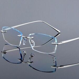 Image 2 - QJ luksusowe Rhinestone okulary do czytania mężczyźni, diamentowe, bez oprawek, okulary, wysokiej jasne męska szary czytelnicy dalekowzroczności starczej okulary