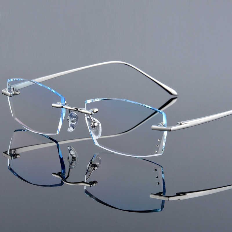 QJ роскошные стразы, очки для чтения, для мужчин, алмазная резка, без оправы, очки, высокая четкость, мужские серые очки для чтения, очки для дальнозоркости