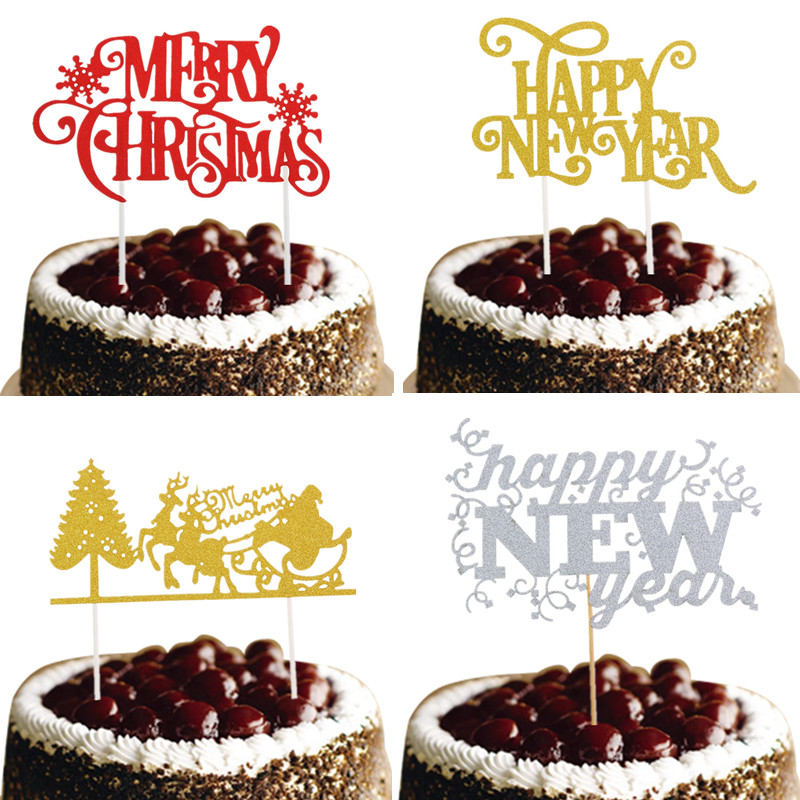 Christmas Cake Topper Happy New Year Santa Claus Merry Christmas Cake Flags Christmas New Year