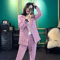 Европейский 2018 Новая мода дамы темперамент небольшой аромат Стиль костюм женский наборы одной кнопки элегантный Для женщин комплекты Тонк