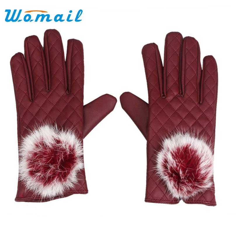 Womail 2017 Fashion Womens Touch Screen Winter Outdoor Artificial Leather Warm Gloves Mittens