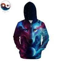 Where Light And Dark Meet By Jojoes Wolf 3D Zipper Hoodies Men Zip Sweatshirt Hooded Cardigan