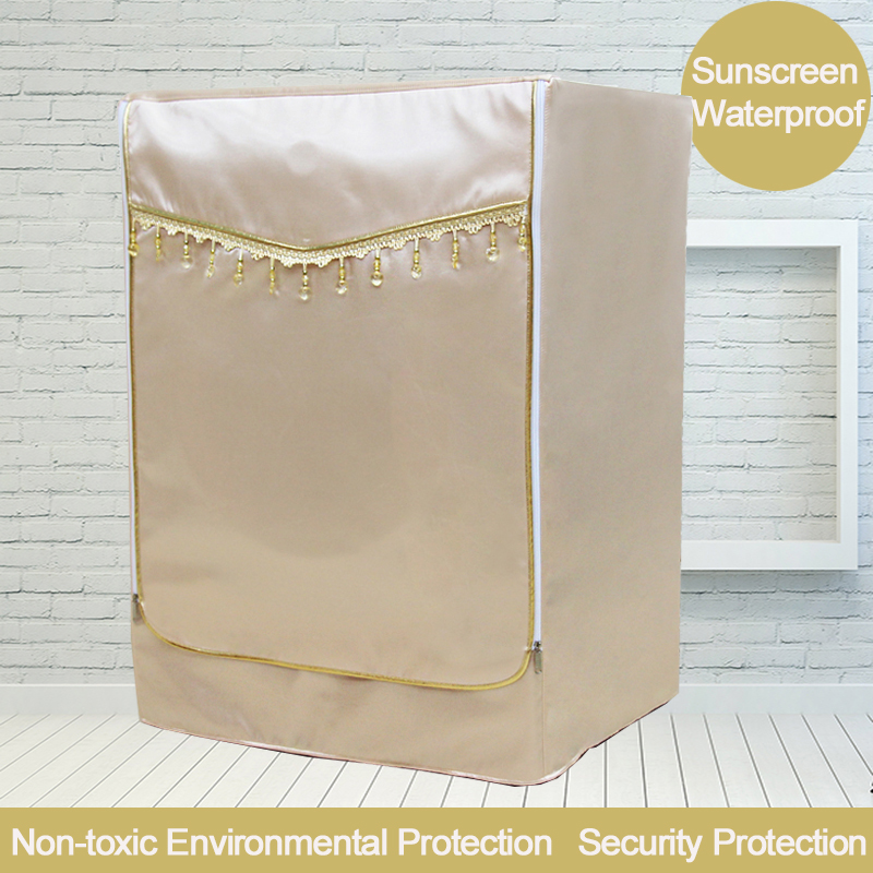 Golden Cover For Washing Machine Waterproof Sunscreen Washer Protective Case Thickening Home Dust Cover