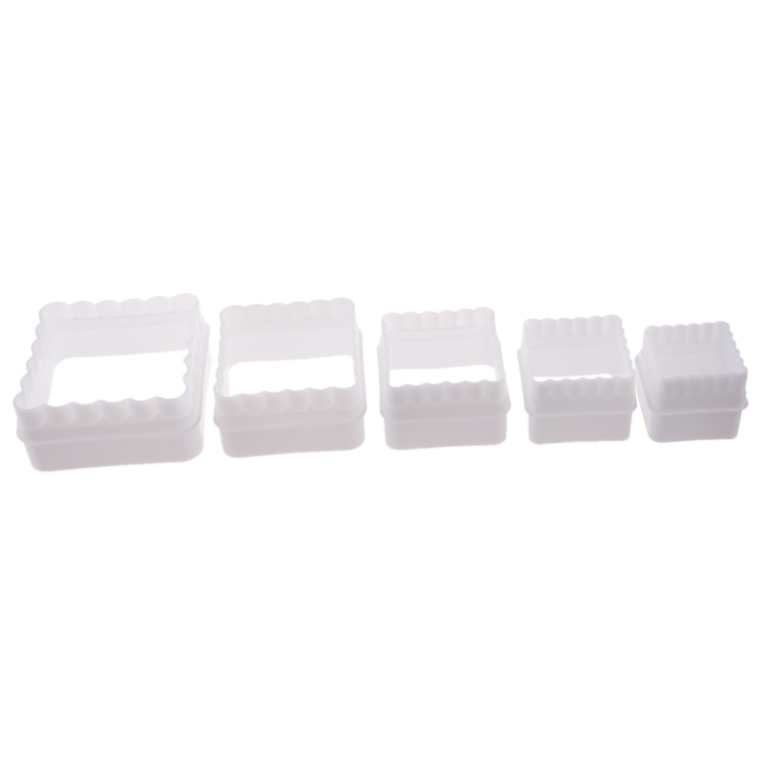 5 Pcs White Plastic Square mold of Biscuit Fondant Cake Pastry Pate Piece for Kitchen
