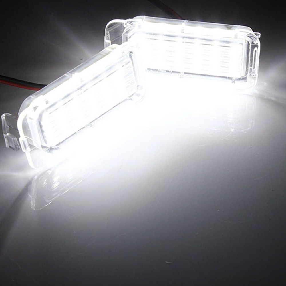 2 Pieces LED Rear Number License Plate Light Number Plate Lamp Bright White For Ford For Fiesta For Focus For Kuga For Mondeo 18 smd high quality led smd number license plate light lamps for kia sportage 11 15 car styling vehicles white tail rear lamp