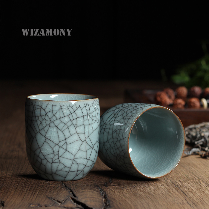 WIZAMONY Chinese Longquan Celadon Porcelain Kung Fu China Teacups SaucerTea Bowl 150ml Chinese TeaPot <font><b>CoffeeCup</b></font> High Quality image