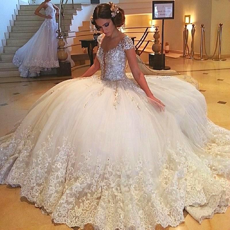 Wedding Dresses With Sweetheart Neckline And Sleeves: Crystal Wedding Gowns Cap Sleeve Beading Sequins Lace