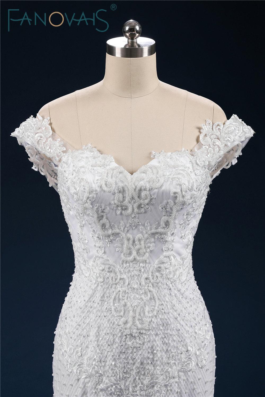 Luxury Full Beads Pearl Wedding Dress Mermaid Lace up Off Shoulder Bridal Gowns 2019 Vintage Vestido de novia robe de maree