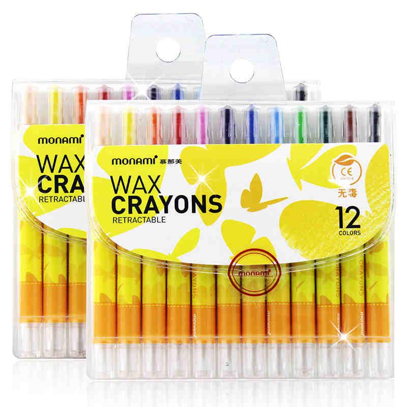 12 Colors/Set Korean Retractable Wax Crayons Nontoxic Kids Crayon Kids Arts And Crafts Painting Teaching Tools