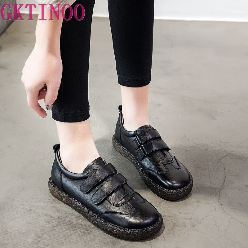 GKTINOO 2019 Fashion Women Shoes Genuine Leather Loafers Women Casual Shoes Handmade Soft Comfortable Shoes Women