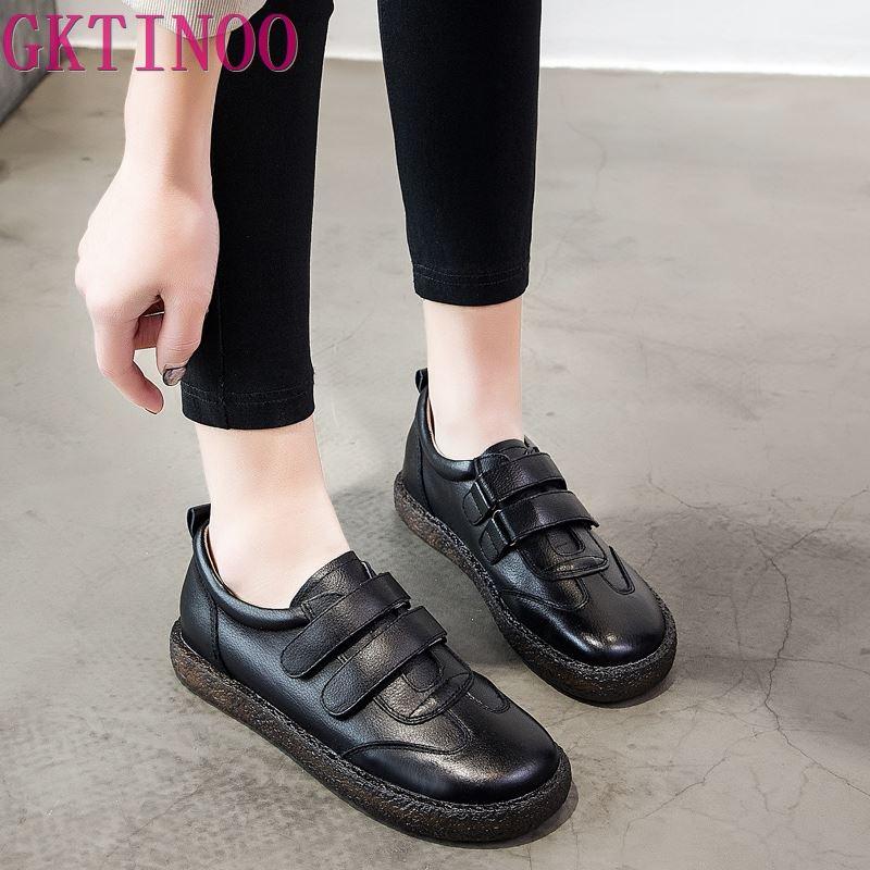 GKTINOO 2019 ファッション女性の靴革ローファー女性カジュアルシューズ手作りソフトで快適なシューズレディースフラッツ  グループ上の 靴 からの レディースフラット の中 1
